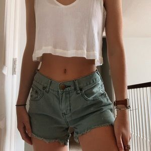 Free People Mid Rise Jean Shorts